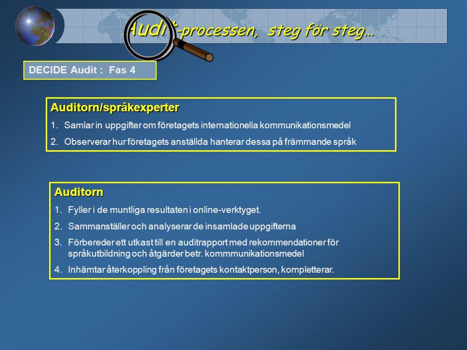 Audit -processen, steg för steg… DECIDE Audit : Fas 4 Auditorn/språkexperter 1.Samlar in uppgifter om företagets internationella kommunikationsmedel 2.Observerar hur företagets anställda hanterar dessa på främmande språk Auditorn 1.Fyller i de muntliga resultaten i online-verktyget.