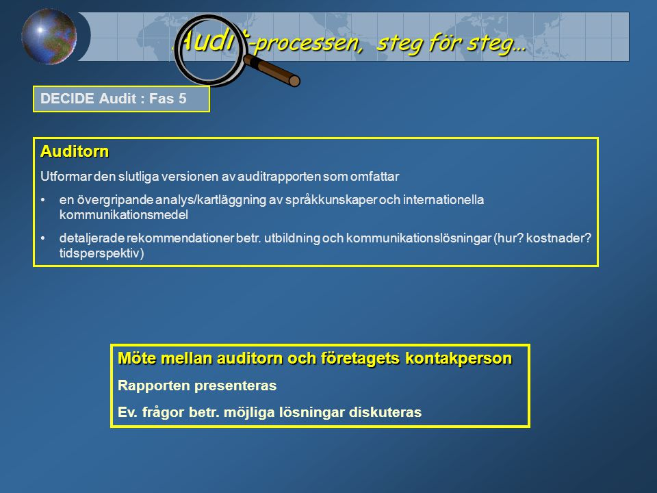 Auditorn Utformar den slutliga versionen av auditrapporten som omfattar en övergripande analys/kartläggning av språkkunskaper och internationella kommunikationsmedel detaljerade rekommendationer betr.