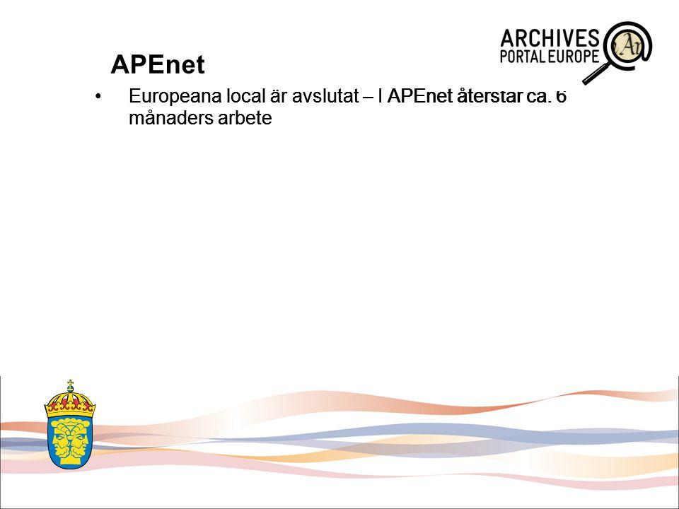 APEnet Europeana local är avslutat – I APEnet återstår ca.