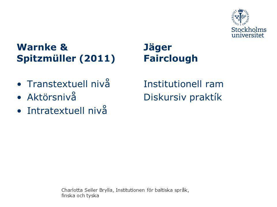 Warnke & Spitzmüller (2011) Transtextuell nivå Aktörsnivå Intratextuell nivå Jäger Fairclough Institutionell ram Diskursiv praktík Charlotta Seiler Brylla, Institutionen för baltiska språk, finska och tyska