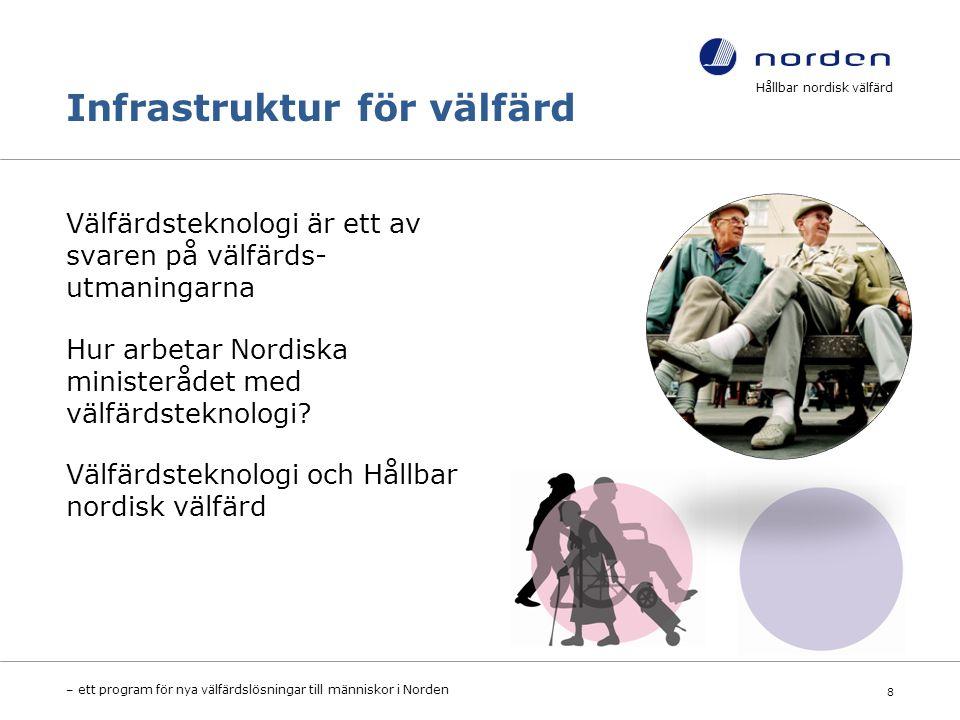 Infrastruktur för välfärd Välfärdsteknologi är ett av svaren på välfärds- utmaningarna Hur arbetar Nordiska ministerådet med välfärdsteknologi.