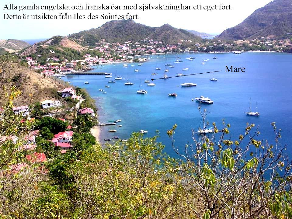 Alla gamla engelska och franska öar med självaktning har ett eget fort. Detta är utsikten från Iles des Saintes fort. Mare