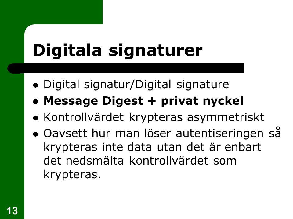 13 Digitala signaturer Digital signatur/Digital signature Message Digest + privat nyckel Kontrollvärdet krypteras asymmetriskt Oavsett hur man löser a