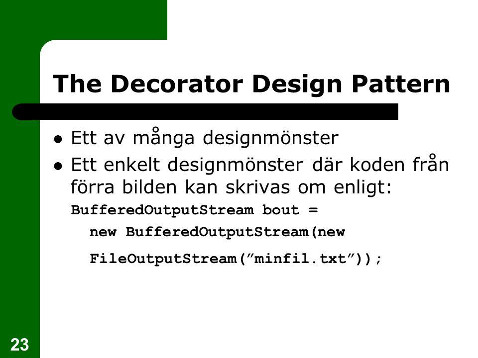 23 The Decorator Design Pattern Ett av många designmönster Ett enkelt designmönster där koden från förra bilden kan skrivas om enligt: BufferedOutputS