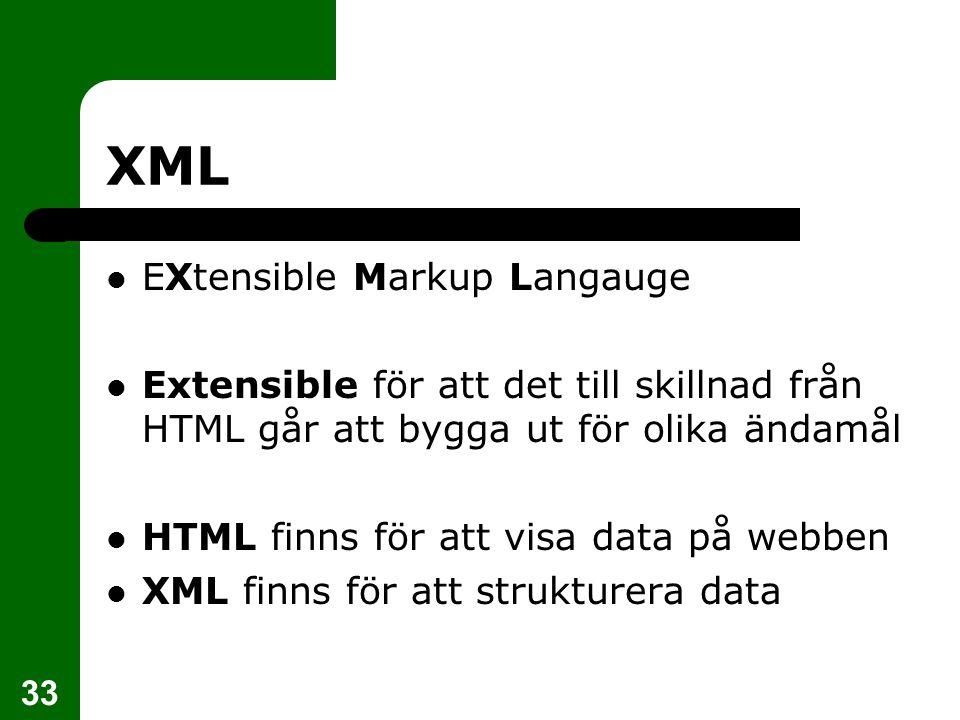 33 XML EXtensible Markup Langauge Extensible för att det till skillnad från HTML går att bygga ut för olika ändamål HTML finns för att visa data på we