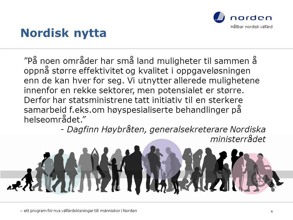 Nordisk nytta Hållbar nordisk välfärd – ett program för nya välfärdslösningar till människor i Norden 4 På noen områder har små land muligheter til sammen å oppnå større effektivitet og kvalitet i oppgaveløsningen enn de kan hver for seg.