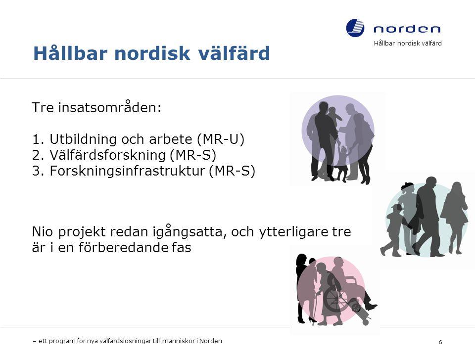 Hållbar nordisk välfärd Tre insatsområden: 1. Utbildning och arbete (MR-U) 2.