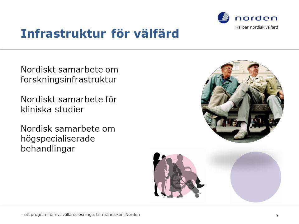 Infrastruktur för välfärd Nordiskt samarbete om forskningsinfrastruktur Nordiskt samarbete för kliniska studier Nordisk samarbete om högspecialiserade behandlingar Hållbar nordisk välfärd – ett program för nya välfärdslösningar till människor i Norden 9