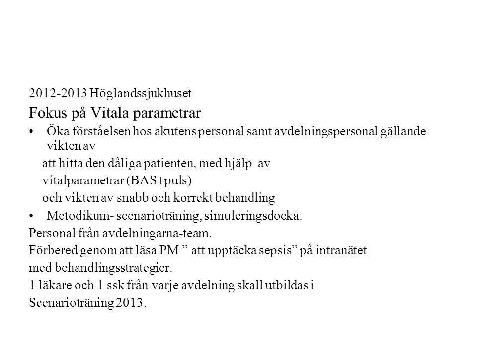 2012-2013 Höglandssjukhuset Fokus på Vitala parametrar Öka förståelsen hos akutens personal samt avdelningspersonal gällande vikten av att hitta den dåliga patienten, med hjälp av vitalparametrar (BAS+puls) och vikten av snabb och korrekt behandling Metodikum- scenarioträning, simuleringsdocka.