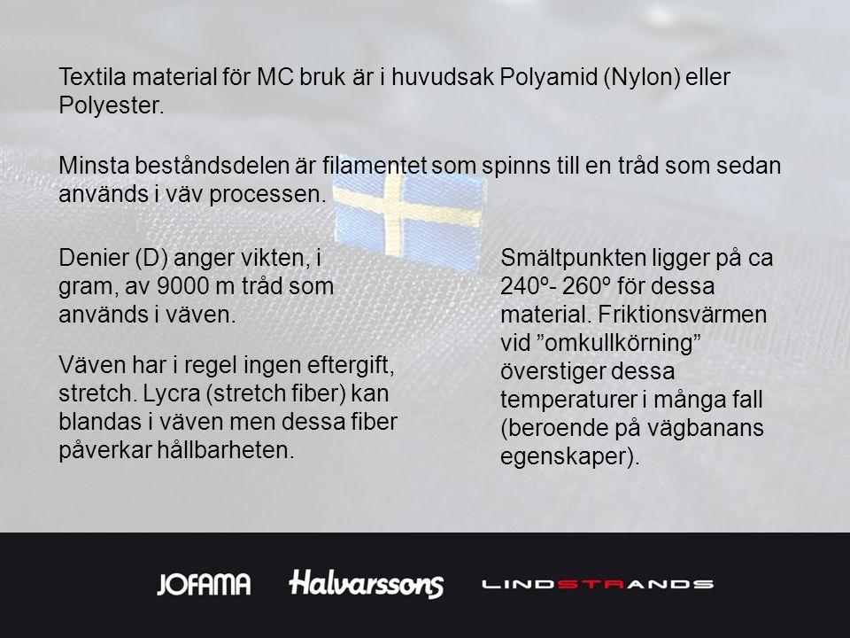 Textila material för MC bruk är i huvudsak Polyamid (Nylon) eller Polyester. Minsta beståndsdelen är filamentet som spinns till en tråd som sedan anvä