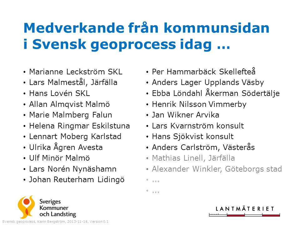 Medverkande från kommunsidan i Svensk geoprocess idag … Marianne Leckström SKL Lars Malmestål, Järfälla Hans Lovén SKL Allan Almqvist Malmö Marie Malm