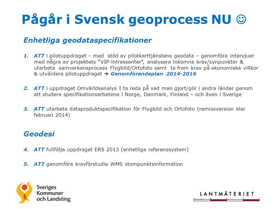 Pågår i Svensk geoprocess NU Enhetliga geodataspecifikationer 1.ATT i pilotuppdraget – med stöd av pilotkarttjänstens geodata – genomföra intervjuer m