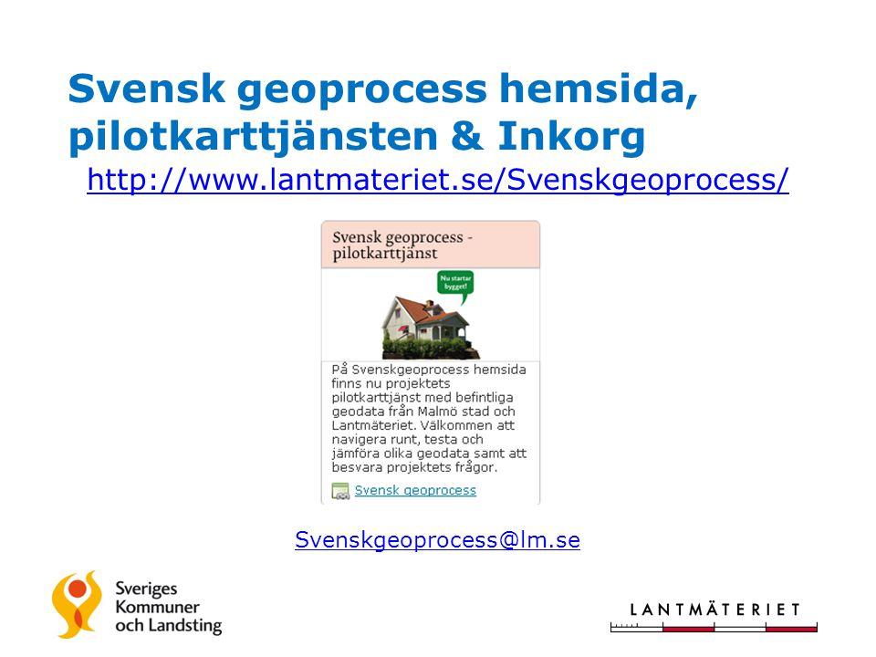 Regeringsbeslut 131003 OM Svensk geoprocess http://www.regeringen.se/sb/d/14865/a/225726/pressitem/225726#anc225726 http://www.regeringen.se/sb/d/16817/a/225690 1.Nationella enhetliga geodataspecifikationer överenskomna/fastställda (klart 1 juli 2016) Prioriterade teman är Ortofoto, Höjdmodell, Kommunikation, Hydrografi, Markdetaljer, Markanvändning, Byggnad och Adress Kunna kombineras med varandra och med Fastighet, Rättighet, Bestämmelse och Planer till lämpliga/efterfrågade kartsammanställningar – samt harmoniera med övriga nationella geodata 2.Stödja /påskynda kommunernas övergång till referenssystemen SWEREF 99 & RH 2000 (klart 1 juli 2016) Svensk geoprocess, Karin Bergström, 2013-10-07, Version 0.1