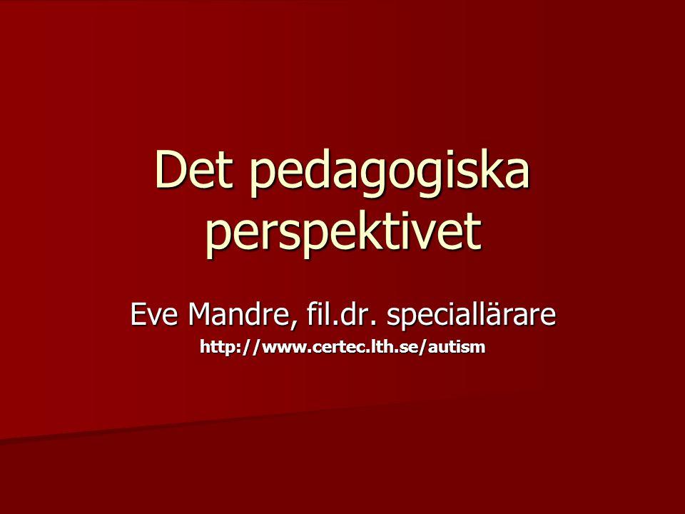 Det pedagogiska perspektivet Eve Mandre, fil.dr. speciallärare http://www.certec.lth.se/autism