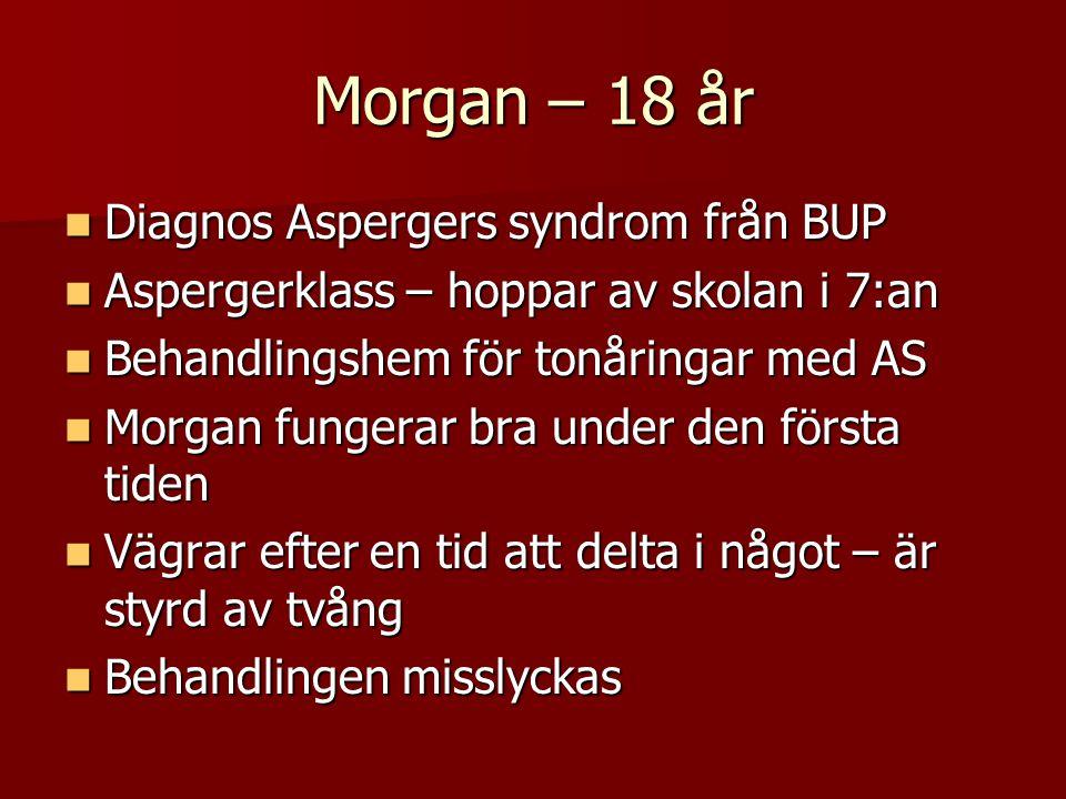 Morgan – 18 år Diagnos Aspergers syndrom från BUP Diagnos Aspergers syndrom från BUP Aspergerklass – hoppar av skolan i 7:an Aspergerklass – hoppar av