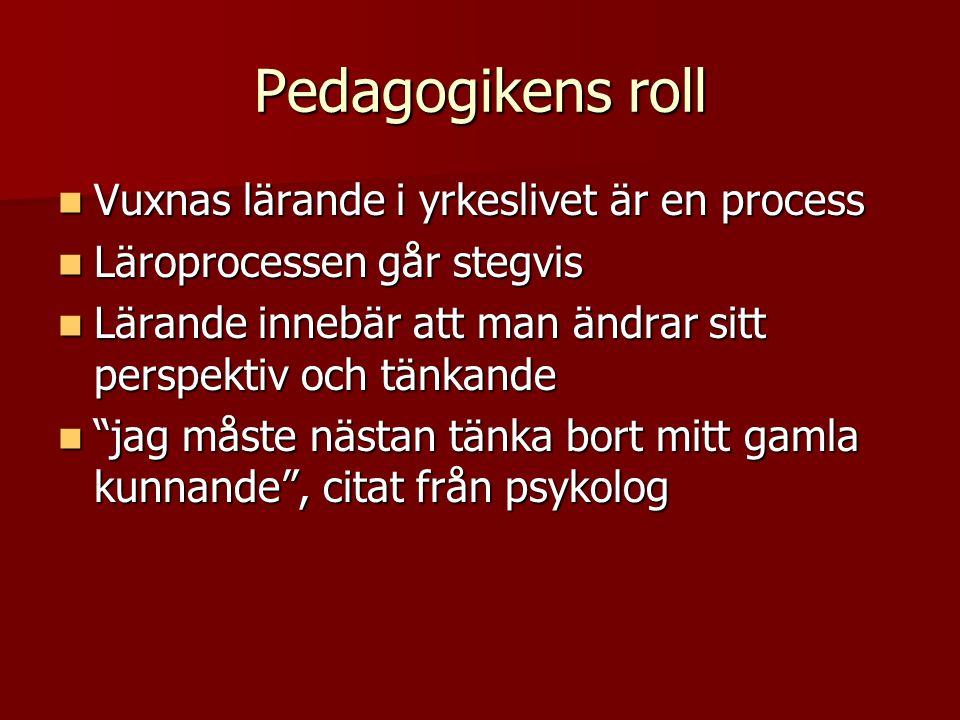 Pedagogikens roll Vuxnas lärande i yrkeslivet är en process Vuxnas lärande i yrkeslivet är en process Läroprocessen går stegvis Läroprocessen går steg