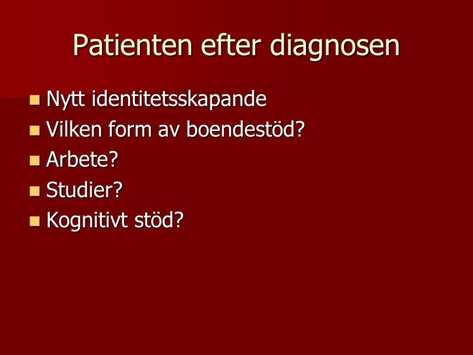 Patienten efter diagnosen Nytt identitetsskapande Nytt identitetsskapande Vilken form av boendestöd? Vilken form av boendestöd? Arbete? Arbete? Studie