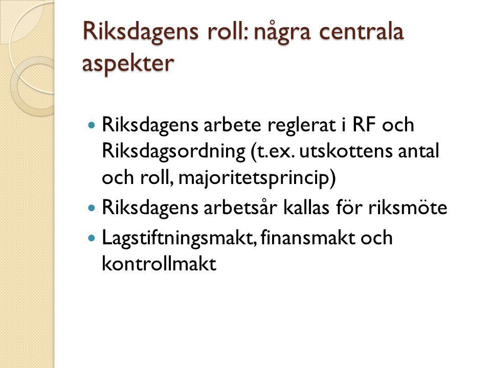 Riksdagens roll: några centrala aspekter Riksdagens arbete reglerat i RF och Riksdagsordning (t.ex. utskottens antal och roll, majoritetsprincip) Riks