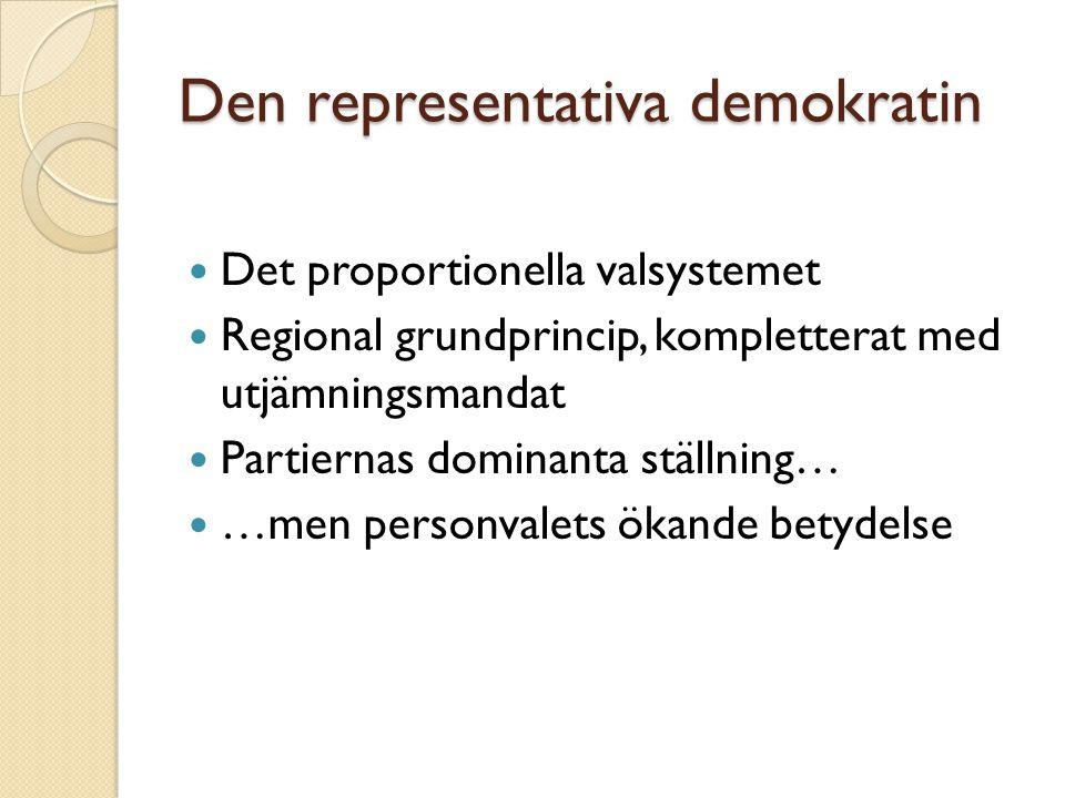 Den representativa demokratin Det proportionella valsystemet Regional grundprincip, kompletterat med utjämningsmandat Partiernas dominanta ställning…