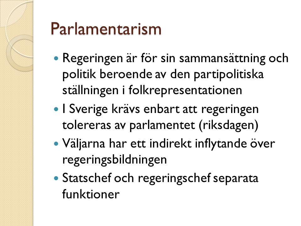 Parlamentarism Regeringen är för sin sammansättning och politik beroende av den partipolitiska ställningen i folkrepresentationen I Sverige krävs enba
