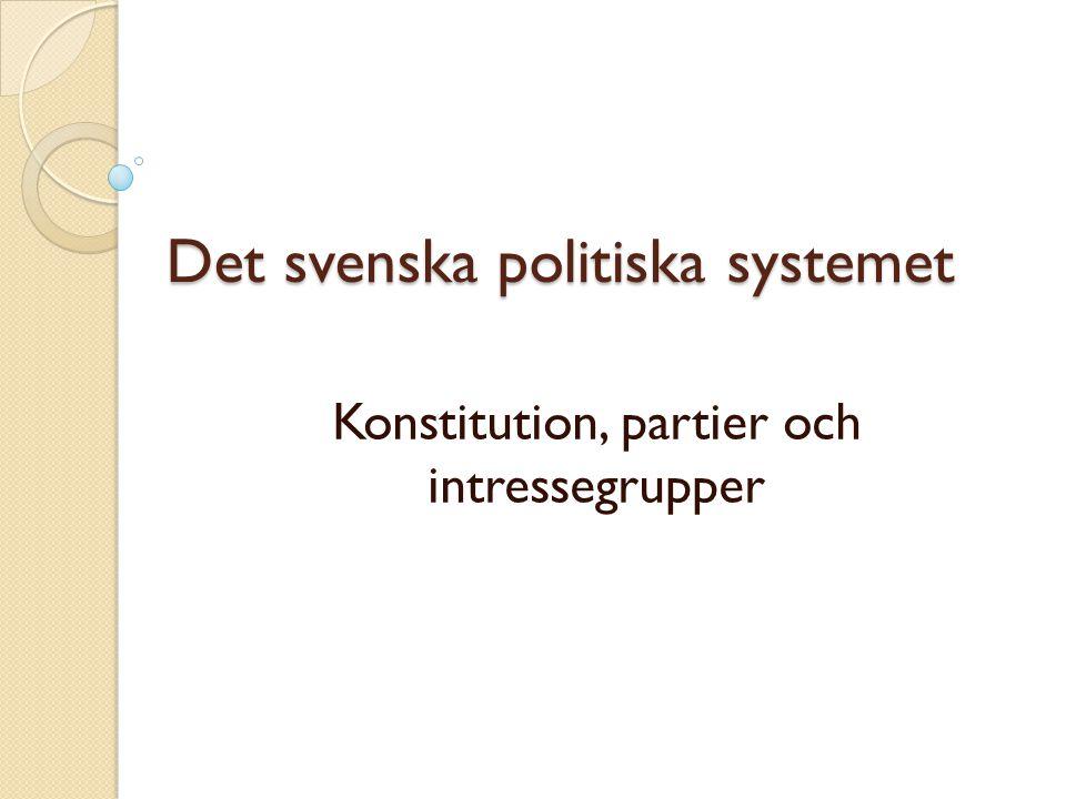 Uppläggning av föreläsning: spelregler och spelare Grundläggande spelregler: Sveriges grundlagar (konstitution) Dominerande spelare: Partier och intressegrupper