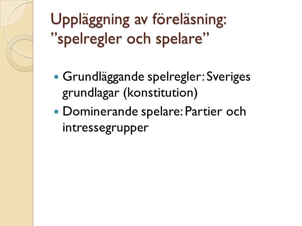 """Uppläggning av föreläsning: """"spelregler och spelare"""" Grundläggande spelregler: Sveriges grundlagar (konstitution) Dominerande spelare: Partier och int"""