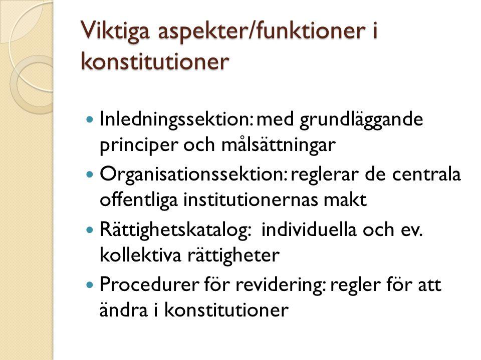 Viktiga aspekter/funktioner i konstitutioner Inledningssektion: med grundläggande principer och målsättningar Organisationssektion: reglerar de centra