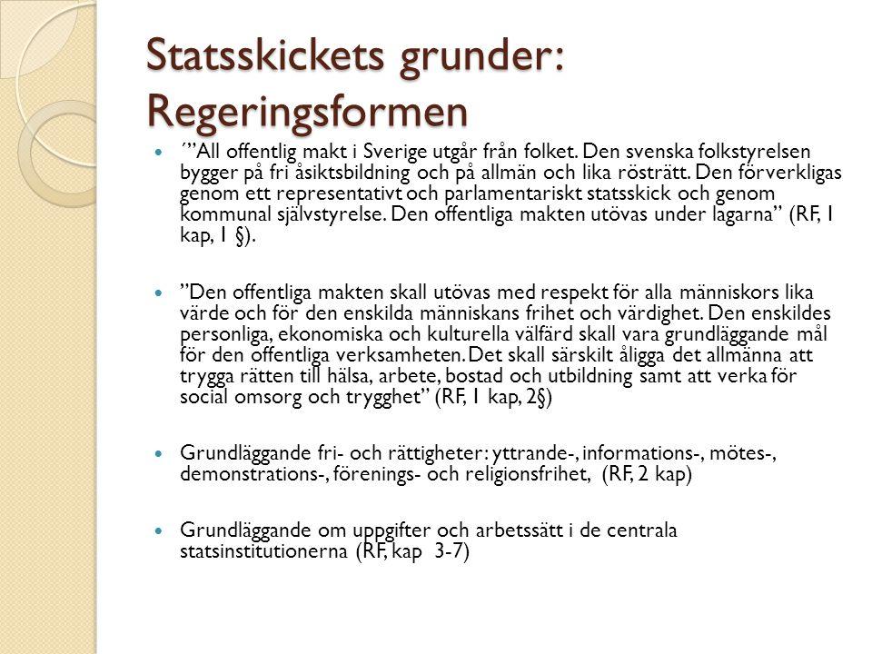 """Statsskickets grunder: Regeringsformen ´""""All offentlig makt i Sverige utgår från folket. Den svenska folkstyrelsen bygger på fri åsiktsbildning och på"""