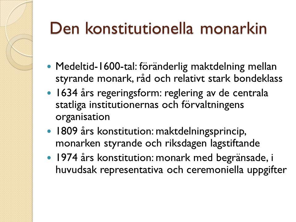 Den konstitutionella monarkin Medeltid-1600-tal: föränderlig maktdelning mellan styrande monark, råd och relativt stark bondeklass 1634 års regeringsf