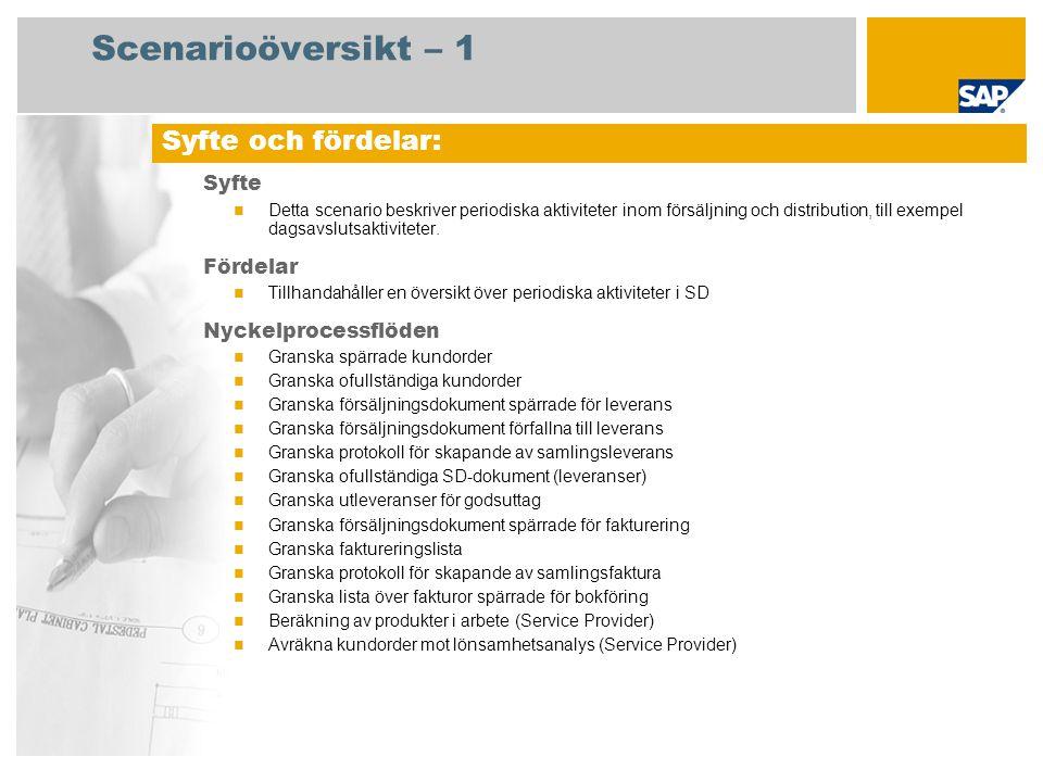 Scenarioöversikt – 2 Krav SAP enhancement package 4 för SAP ERP 6.0 Företagsroller som deltar i processflöden Fakturering Försäljningschef Lagerspecialist Försäljningsadministration Lagerchef Huvudansvarig för kundreskontra Central kostnadsredovisningspers.