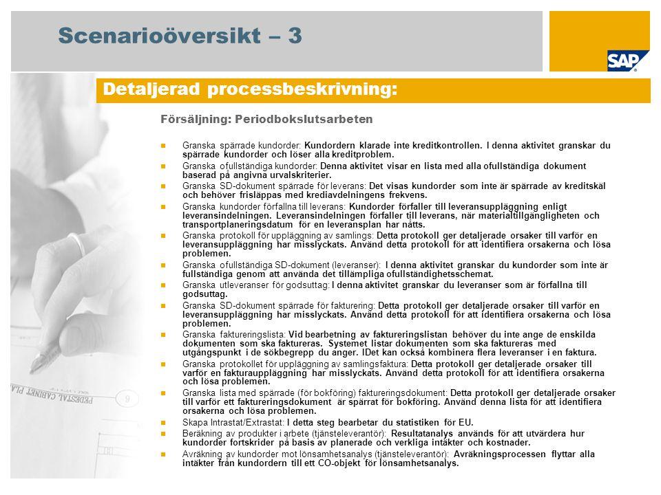 Scenarioöversikt – 3 Försäljning: Periodbokslutsarbeten Granska spärrade kundorder: Kundordern klarade inte kreditkontrollen. I denna aktivitet gransk