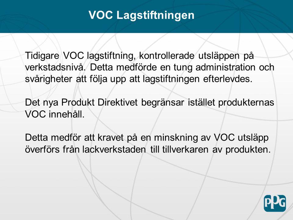 Alla EU länder (plus Norge och Island) måste uppfylla direktivet som ett minimum Direktivet träder i kraft i alla länder per 1 jan 07 Det tillåts ingen försäljning av produkter som ej uppfyller direktivet efter 31 december 07, befintligt lager får dock förbrukas under 2007 Alla lackverkstäder påverkas oavsett storlek, det finns ingen undre gräns där direktivet ej gäller Täcker reparationslackering, vanlig lastbilslackering men ej industrilackering Produkt Direktiv 2004/42/EU