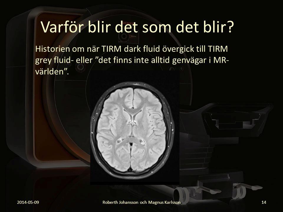 """Varför blir det som det blir? Historien om när TIRM dark fluid övergick till TIRM grey fluid- eller """"det finns inte alltid genvägar i MR- världen"""". 20"""