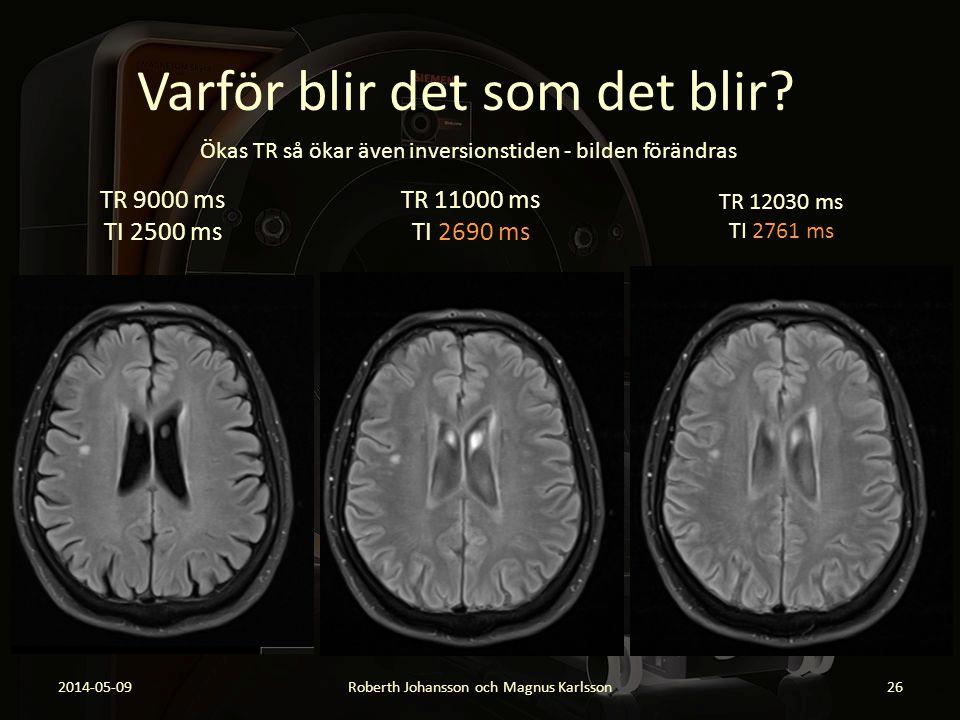 Varför blir det som det blir? 2014-05-09Roberth Johansson och Magnus Karlsson26 TR 9000 ms TI 2500 ms TR 11000 ms TI 2690 ms TR 12030 ms TI 2761 ms Ök
