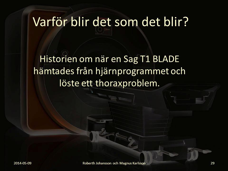 Varför blir det som det blir? Historien om när en Sag T1 BLADE hämtades från hjärnprogrammet och löste ett thoraxproblem. 2014-05-09Roberth Johansson