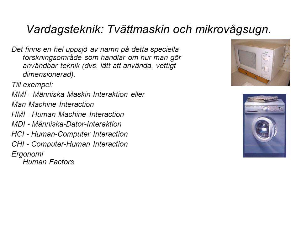 Vardagsteknik: Tvättmaskin och mikrovågsugn. Det finns en hel uppsjö av namn på detta speciella forskningsområde som handlar om hur man gör användbar
