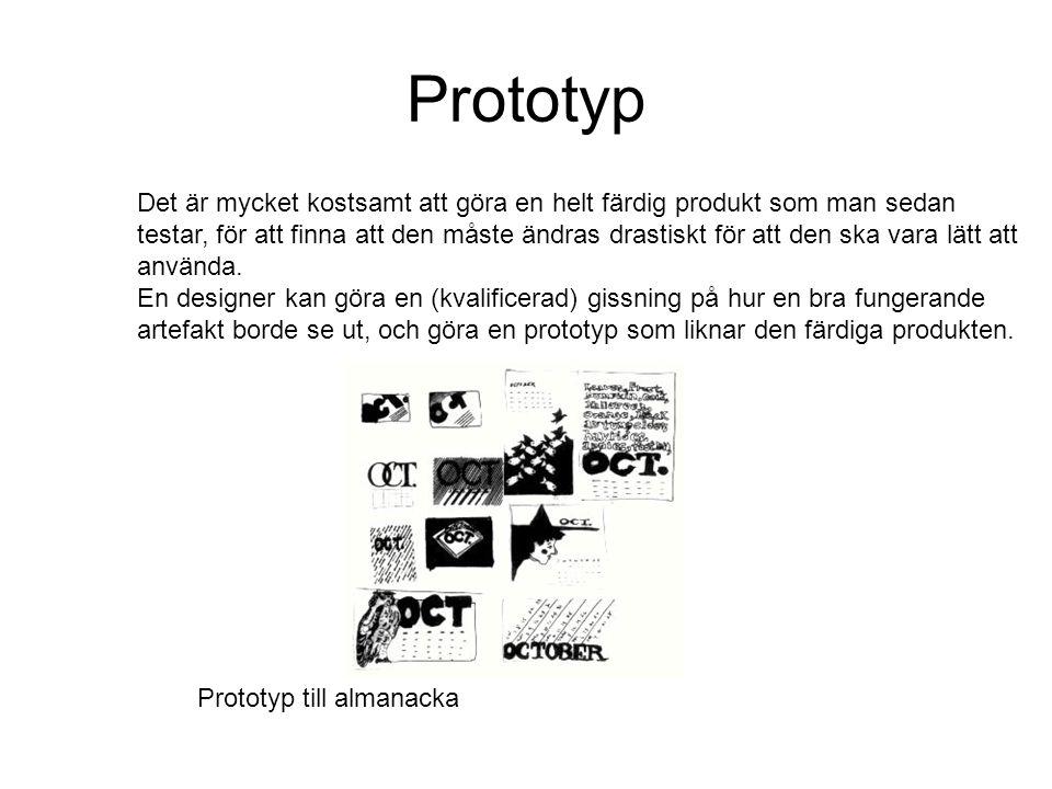 Prototyp Det är mycket kostsamt att göra en helt färdig produkt som man sedan testar, för att finna att den måste ändras drastiskt för att den ska var