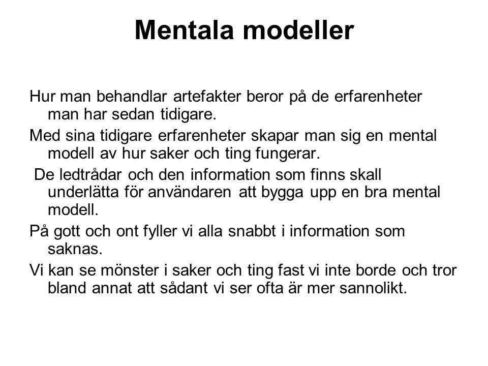 Mentala modeller Hur man behandlar artefakter beror på de erfarenheter man har sedan tidigare. Med sina tidigare erfarenheter skapar man sig en mental