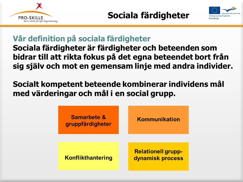 Sociala färdigheter Aspekter av sociala färdigheter är: Samarbete och förmåga att arbeta i grupp: Öppenhet och tolerans, sociabilitet, användning av sociala resurser, genomförande av förhandlingar, ledarskapsfärdigheter, interkkulturella färdigheter; Förmågan att kommunicera: Språkfärdigheter, aktivt lyssnande, feedback, empati, att ge och ta emot erkännande; Konfliktlösning / förmågan att kompromissa Grupp-dynamiska processer Samarbete & gruppfärdigheter Kommunikation Relationell grupp- dynamisk process Konflikthantering