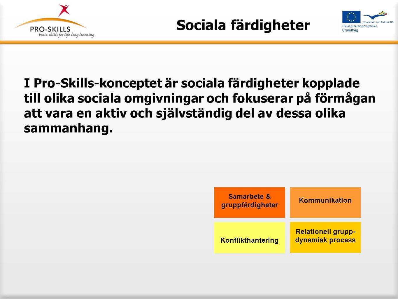 Sociala färdigheter Vårt mål med att utbilda sociala färdigheter är att starta processen och att utveckla deltagarna till; aktiva och självständiga medborgare att kunna knyta an till andra personer att kunna hålla med och vara av avvikande åsikt Samarbete & gruppfärdigheter Kommunikation Relationell grupp- dynamisk process Konflikthantering