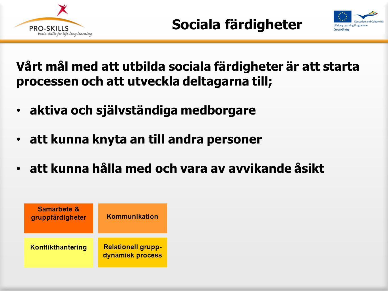 Sociala färdigheter För att nå detta mål definierar Pro-Skills- konceptet två stora centrala områden som man ska fokusera på i utbildningen av sociala färdigheter: förtroende anknytande Samarbete & gruppfärdigheter Kommunikation Relationell grupp- dynamisk process Konflikthantering