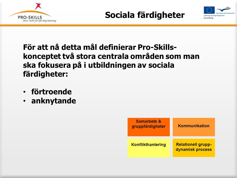 Sociala färdigheter För att nå detta mål definierar Pro-Skills- konceptet två stora centrala områden som man ska fokusera på i utbildningen av sociala