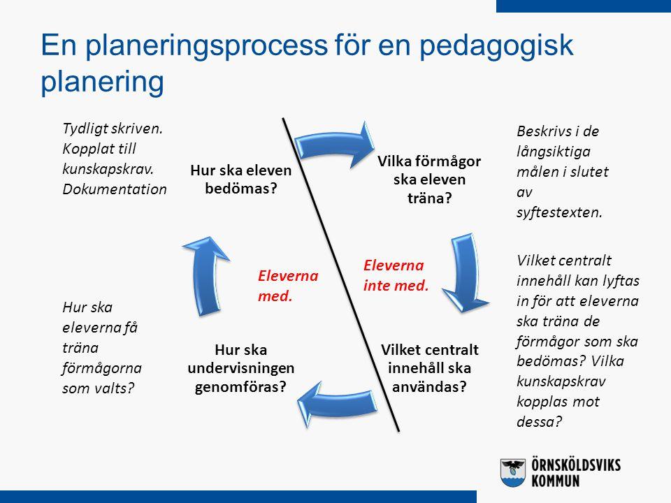 En planeringsprocess för en pedagogisk planering Vilka förmågor ska eleven träna? Vilket centralt innehåll ska användas? Hur ska undervisningen genomf