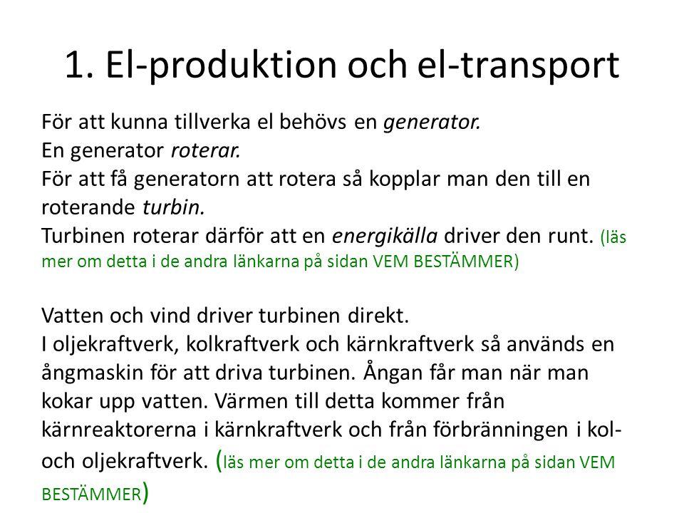 1. El-produktion och el-transport För att kunna tillverka el behövs en generator. En generator roterar. För att få generatorn att rotera så kopplar ma