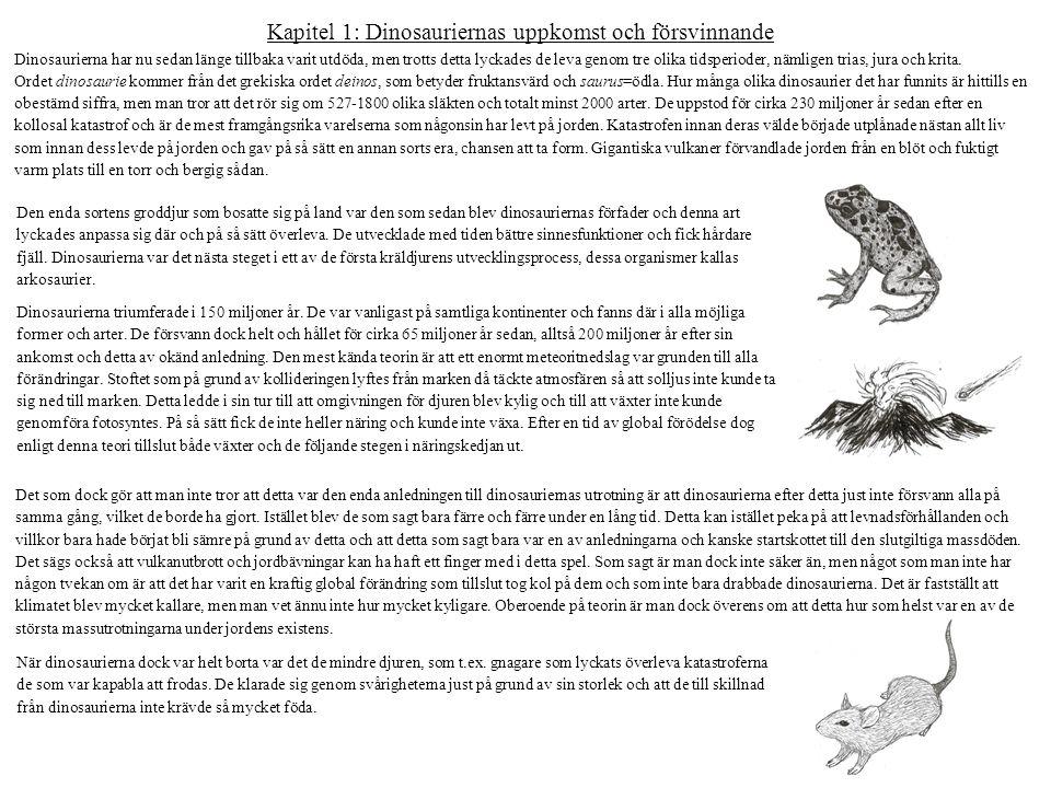 Kapitel 1: Dinosauriernas uppkomst och försvinnande Dinosaurierna har nu sedan länge tillbaka varit utdöda, men trotts detta lyckades de leva genom tr