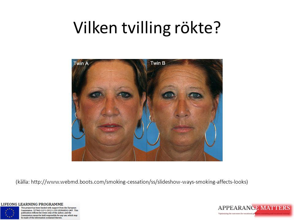 Vilken tvilling rökte? (källa: http://www.webmd.boots.com/smoking-cessation/ss/slideshow-ways-smoking-affects-looks)