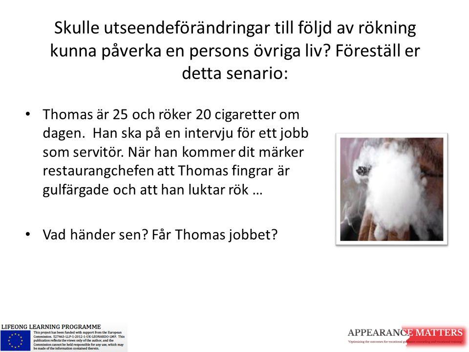 Skulle utseendeförändringar till följd av rökning kunna påverka en persons övriga liv? Föreställ er detta senario: Thomas är 25 och röker 20 cigarette