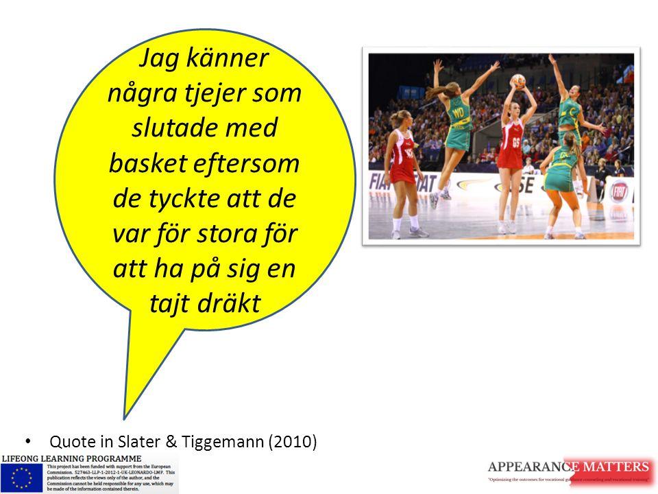 Quote in Slater & Tiggemann (2010) Jag känner några tjejer som slutade med basket eftersom de tyckte att de var för stora för att ha på sig en tajt dr