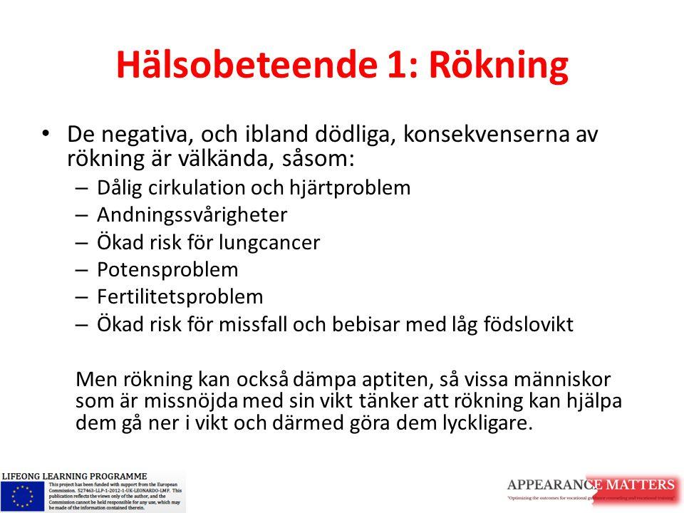 Hälsobeteende 1: Rökning De negativa, och ibland dödliga, konsekvenserna av rökning är välkända, såsom: – Dålig cirkulation och hjärtproblem – Andning