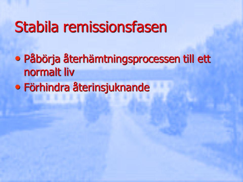 Stabila remissionsfasen Påbörja återhämtningsprocessen till ett normalt liv Påbörja återhämtningsprocessen till ett normalt liv Förhindra återinsjukna